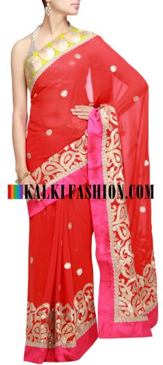 Buy Online from the link below. We ship worldwide (Free Shipping over US$100) http://www.kalkifashion.com/orange-saree-with-gotta-patti-embroidery.html Orange saree with gotta patti embroidery