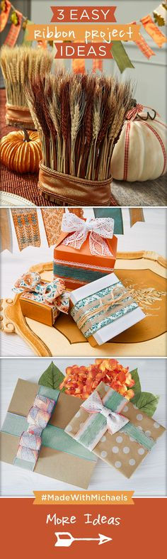 Dress up gifts or your home decor this Fall with these easy ribbon project ideas. Find everything you need to make these ribbon projects at your local Michaels store!