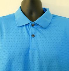 Nike Fit Dry Golf Polo Shirt Turquoise Blue XL Mens 3 Button Knit Side Panels #Nike #PoloRugby
