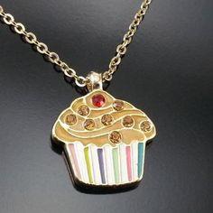 Vintage Enamel Cupcake Necklace 1970s Rhinestones Estate Jewelry
