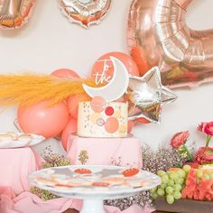 peach and space themed kids birthday party idea with beautiful cake - Event planning interests 50th Birthday Party Decorations, 2nd Birthday Parties, Birthday Cakes, Birthday Ideas, Birthday Gifts, Happy Birthday, Does Your Mother Know, Carrie, Outer Space Party