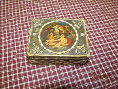 "Adorable little Vintage Folk Art Trinket Jewelry Box Hand Made Mother & Child 3"" x 3 1/2"" by EvenTheKitchenSinkOH on Etsy"
