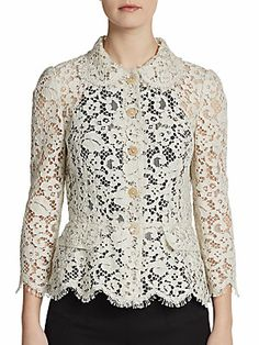 Lace Peplum Jacket from Dolce Gabbana Lace Jacket, Peplum Jacket, Dress Shirts For Women, Clothes For Women, Casual Chique, Iranian Women Fashion, Lace Dress, Lace Peplum, Classy Work Outfits