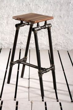 Steampunk-Industrial Upcycled Pipe Bar Stool-Black