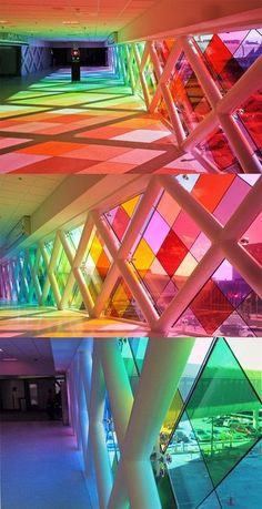 """miami airport installation: harmonic convergence by christopher janney Large-scale installation by Christopher Janney, at the Miami International Airport. Janney terms it """"an abstraction of South Florida in color and sound. Art Et Architecture, Amazing Architecture, Miami Airport, Installation Art, Art Installations, Home Art, Lighting Design, Stained Glass, Glass Art"""