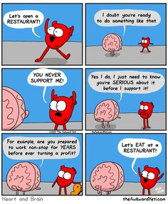 The Awkward Yeti comics. Funny humor and oddities. Have a laugh and check out… Akward Yeti, The Awkward Yeti, Cute Comics, Funny Comics, Heart And Brain Comic, 4 Panel Life, Just For Laughs, Comic Strips, Funny Photos