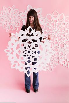 Giant paper snowflakes for Christmas!