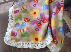 Baby Girl Butterfly Nursery Blanket, Crocheted Blanket, Fleece Blanket by Lorettescottage on Etsy