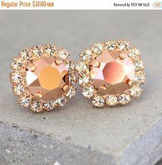 Rose Gold Earrings Rose Gold Swarovski by iloniti on Etsy