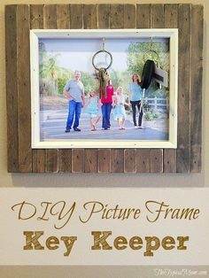 Easy DIY project to turn unused picture frames into a photo key holder keeper. Inexpensive dollar store craft that is super useful and cute. Rustic Pictures, Simple Pictures, Diy Craft Projects, Diy Crafts, Craft Ideas, Wood Crafts, Diy Ideas, Decor Ideas, Display Family Photos