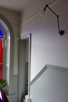 Farrow & Ball Peignoir and Worsted altbau Dado Rail Living Room, Dado Rail Hallway, Hallway Flooring, Dado Rail Bedroom, Hallway Wall Colors, Hallway Colour Schemes, Hallway Walls, Hallways, Grey Hallway Paint