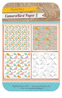 Bird patterned paper - free download