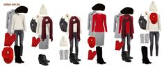 Winter capsule wardrobe - white, gray, black and red - urban eve