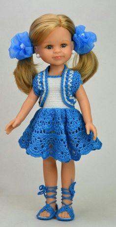 Knitting Crochet Dress Girl Dolls New Ideas Crochet Dress Girl, Crochet Doll Clothes, Knitted Dolls, Girl Doll Clothes, Doll Clothes Patterns, Crochet Dolls, Barbie Clothes, Girl Dolls, Crochet Baby