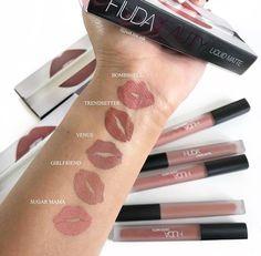 Huda Beauty Swatches, Huda Beauty Lipstick, Huda Beauty Makeup, Makeup Swatches, Makeup Dupes, Makeup Kit, Makeup Cosmetics, Mac Lipstick Colors, Mauve Lipstick