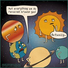 Science humor and astronomy comics about sun being self-absorbed. Comic by Unearthed Comics. #astronomy #comics #humor #science