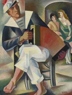 André Lhote (1885-1962) Frans schilder, illustrator, beeldhouwer en kunsthistoricus,  Invloed van Afrikaanse en Egyptische kunst en het werk van Paul Gauguin. Zijn vroege werk is fauvistisch, o.i.v. van Paul Cézanne en Pablo Picasso, wordt zijn stijl meer en meer kubistisch. Hij is als schilder grotendeels autodidact. Van 1898 tot 1904 is hij student  beeldhouwen. Onder invloed van Paul Gauguin werd hij echter steeds meer tot de schilderkunst aangetrokken.- 1920