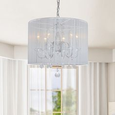 Chrome and Cream 6-light Crystal Chandelier - 12133133 - Overstock Shopping - Great Deals on The Lighting Store Chandeliers & Pendants