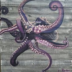 Purple octopus painting on reclaimed painted wood