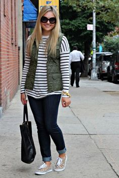 Army green quilted vest & Leopard sneaks!