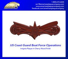 United States Coast Guard Boat Force Operations Insignia plaque in Cherry Wood finish. #USCoastGuard #USCG