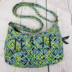 cf8cd49c3b Vera Bradley Daisy Daisy Blue Green Geo Floral Crossbody Small Hobo Bag  RETIRED  VeraBradley  CrossbodyShoulderBag