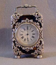 Antique English silver mounted tortoiseshell carriage clock. - Gavin Douglas…