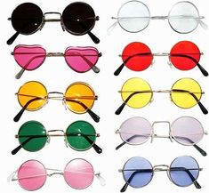 Heart Shaped Hippy Glasses Fancy Dress Love Peace Pink Tint Lenses 60/'s 70/'s