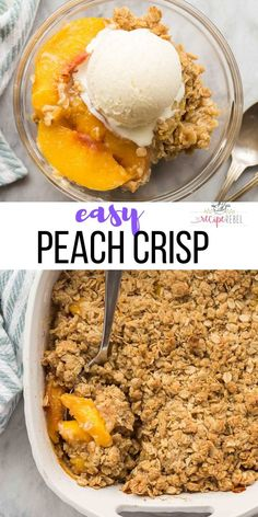 This easy Peach Crisp is made with fresh canned or frozen peaches plus a crunchy brown sugar oat topping! It's make ahead and freezer friendly. Can Peaches Recipes, Fresh Peach Recipes, Fruit Recipes, Dessert Recipes With Fruit Easy, Recipes With Frozen Fruit, Baking Dessert Recipes, Easy Peach Dessert, Vegan Recipes, Sweet Recipes