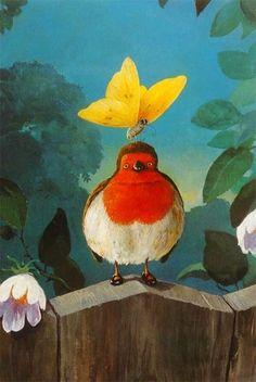 Rudi Hurzlmeier Notecard Bird with Butterfly on Head | eBay