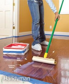 Renew the finish on your wood floor without the hassle of sanding. Instead, use a simple chemical etching technique and apply a new topcoat of finish. It also works on plastic laminate floors. Home Improvement Projects, Home Projects, Refinishing Hardwood Floors, Wood Flooring, Floor Refinishing, Flooring Ideas, Maple Flooring, Flooring Types, Cleaning Wood Floors