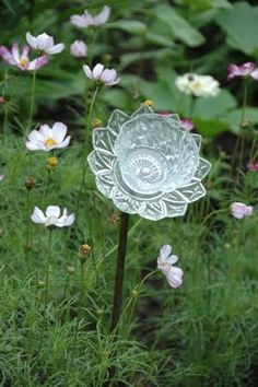 Glass plate & bowl flowers from: Embroidery Garden: Crafts