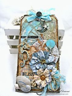 Seaside Summer Mixed Media Tag by Kathy Clement for Frilly and Funkie In the Good Old Summertime Challenge Photo 5 Mod Podge On Wood, Card Tags, Cards, Gift Tags, Mixed Media Tutorials, Shabby Chic Crafts, Art Journal Techniques, Handmade Tags, Paper Tags
