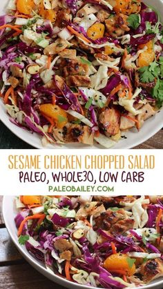This sesame chicken chopped salad is quick and easy and perfect for a low carb party option or meal prep plan! #paleo #whole30 #whole30recipes #sesamechicken #lowcarb