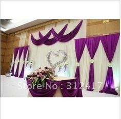 Purple wedding stage decorations backdrops 2015 new arrival . Wedding Ceremony Ideas, Wedding Stage, Wedding Backdrops, Wedding Veils, Wedding Bouquets, Wedding Flowers, Wedding Dresses, Purple Wedding, Wedding Colors