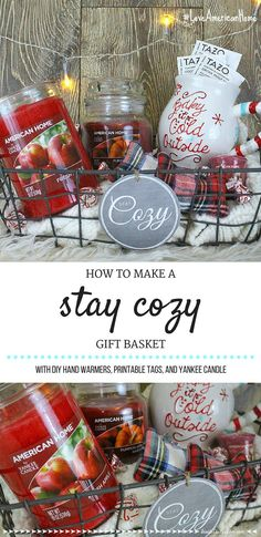 Diy christmas gift baskets candle stay cozy gift basket diy christmas gift baskets for boyfriend Themed Gift Baskets, Diy Gift Baskets, Christmas Gift Baskets, Raffle Baskets, Gift Basket Themes, Theme Baskets, Diy Candle Gift Basket, Candle Gifts, Basket Gift