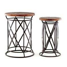 accent tables / plant stand - hammered copper top
