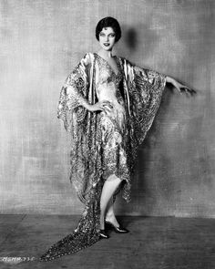 Loretta Young Wearing a Metallic Lace Evening Dress Studio Portrait Photo