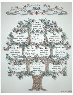 Personalized Family Tree by KarliesGiftCottage on Etsy, $9.00 Family Tree Quilt, Family Tree Frame, Free Family Tree, Family Trees, Family Tree Records, Display Family Photos, Personalised Family Tree, Cross Stitch Tree, Star Wars