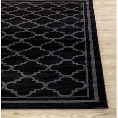 Trellis Contemporary Modern Design Black Area Rug (7'10 x 10'2)