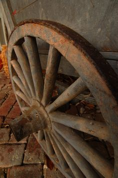 rusty cart wheel
