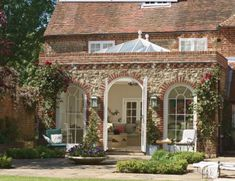 The perfect Orangery .love,love,love The original brickwork to match main house Graceful orangery designed to order and painted in Marston Orangerie Extension, Conservatory Extension, Cottage Extension, House Extensions, Design Case, Outdoor Rooms, Rustic Chic, My Dream Home, Exterior Design