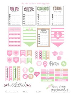 FREE Rosey Posey Planner Stickers   Free printable by Vintage Glam