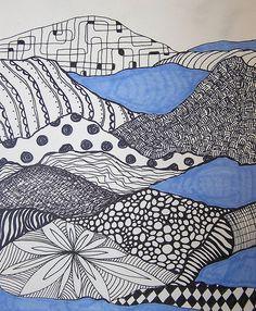 Zentangle inspiration found in these pattern landscapes. FLIKR - Karol Ann 1229.