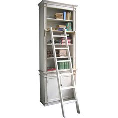 Crafted from a poplar wood mix, this white-finished bookcase and ladder set is great for adding the finishing touch to your study or living room.