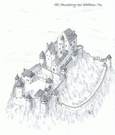 Castle Alt Trauchburg near Weitrau/Bavaria www. Fantasy Castle, Fantasy House, Fantasy Map, Medieval Fantasy, Chateau Medieval, Medieval Castle, Minecraft Medieval Village, Castle Illustration, Castle Drawing