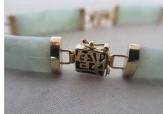 Antique Art Deco 9ct Yellow Gold & Jade Bracelet