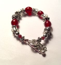 Red and silver industrial  glass beaded hand made bracelet girlfriend gift stretch bracelet toggle clasp spoonie made  chic fashion jewelry by AliceAndBettyDesigns on Etsy
