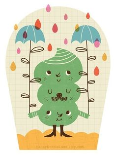 Rain Monster by HappyDoodleLand. Print 20.00, via Etsy. #cute #illustration #colorful #umbrella