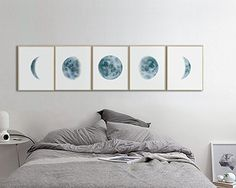 Moon Phases Wall Art Print, Watercolor Prints, Bedroom Wall Decor, Moon Phases Prints Set